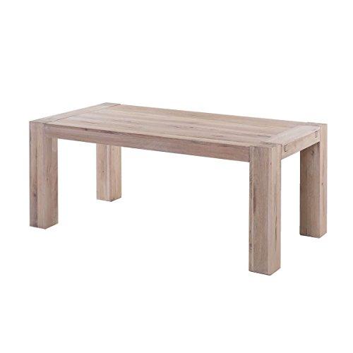 MÖBEL IDEAL Esstisch 160 x 90 cm Massivholz Esszimmertisch Holz Eiche massiv geölt White Wash