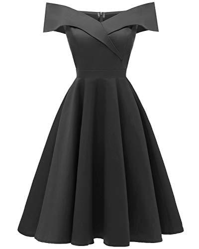 Laorchid Damen Vintage cocktailkleid schulterfrei Sommerkleid v Ausschnitt a Linie Kleid Abendkleid elegant Partykleid Knielang ballkleid schwarz S