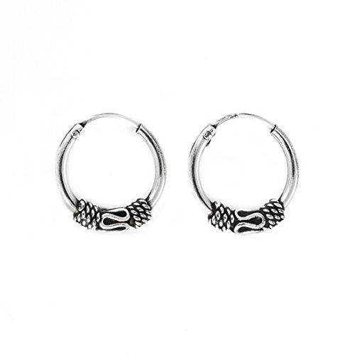 Silverly Pendientes de Aro Mujeres Hombre de Plata 925 en Estilo Balinés 14 mm