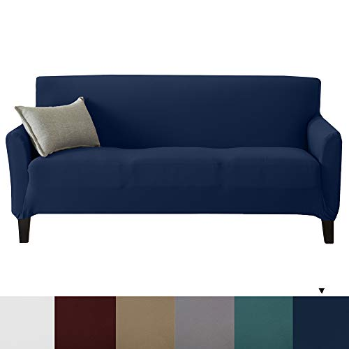 Great Bay Home Stretch Strapless Couch Slipcover. Furniture Protector Featuring Super Soft Jersey Knit Fabric. Seneca Collection (Sofa XL, Navy)