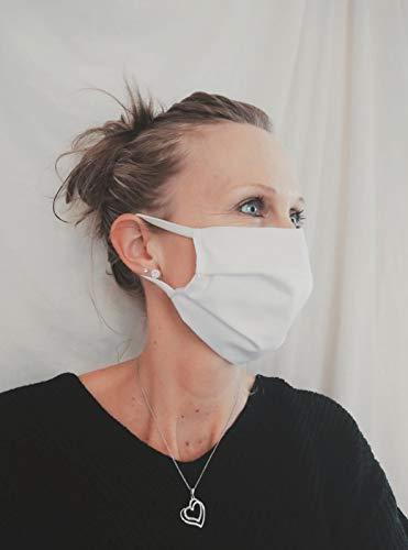 Elastomer24 Gesichtsmaske Behelfsmaske Behelfsmundschutz 100% Baumwolle Weiß