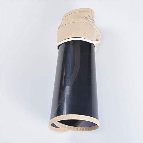 KCJMM-HAT protección Anti UV Protección Facial Protector Solar Protector Solar para Golf,Lente de Sol Desmontable con sombrilla Plegable Superior vacía, Beige