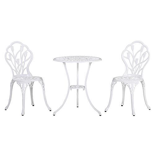 Outsunny Ensemble Salon de Jardin 2 Places 2 chaises + Table Ronde Fonte d'aluminium Imitation Fer forgé Blanc