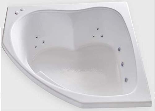 Carver Tubs - SKC5555-12 Jet Whirlpool - 55'L x 55'W x 18.5'H - White Drop In Corner Two Person Bathtub (Left Hand Motor)