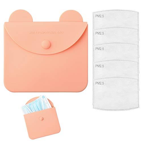 DZSEE Tragbare Masken-Aufbewahrungstasche +5pcs Austauschbare Filter, Staubmasken-Aufbewahrungsbox zur Vermeidung von Maskenverschmutzung, ohne M-as-ke (Orange)
