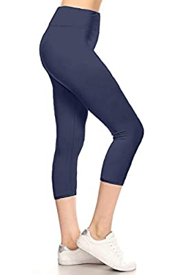 LYCPR128-Navy Yoga Capri Solid Leggings, One Size