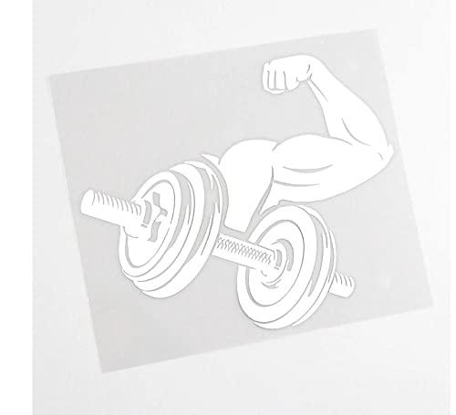 MDGCYDR Autoaufkleber 10Cm * 16Cm Persönlichkeit Auto Aufkleber Arm Wrestling Muscle Fitness Gym Zubehör Reflektierende Vinyl Aufkleber Schwarz Silber,