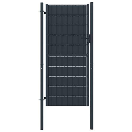 VidaXL Hekpoort, tuinpoort, inrijdpoort, tuinhek, poort, deur, staal 100 x 124 cm, antraciet