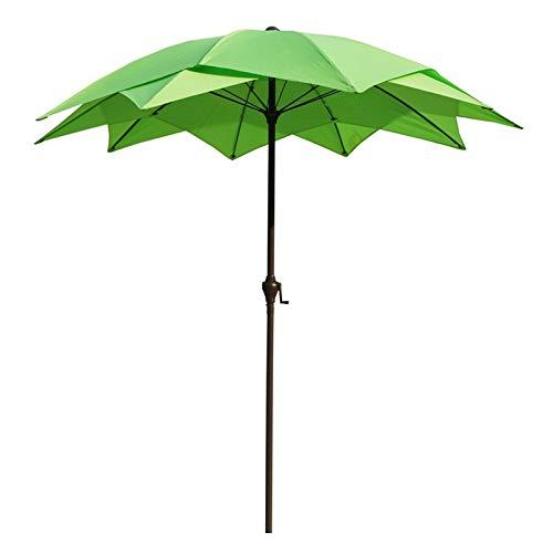 HWF Sombrilla Sombrilla de Patio, 2 Niveles Paraguas de Mesa de Mercado al Aire Libre con manivela para jardín/césped/terraza/Patio/Piscina, Sombrilla Impermeable