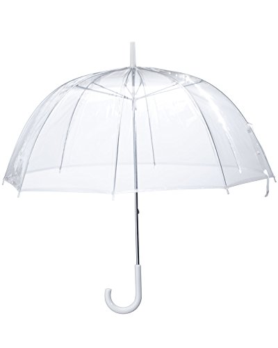 (6 Pack) 46' Adult Clear Bubble Umbrella Auto Open Fashion Dome Shaped European Hook Handle