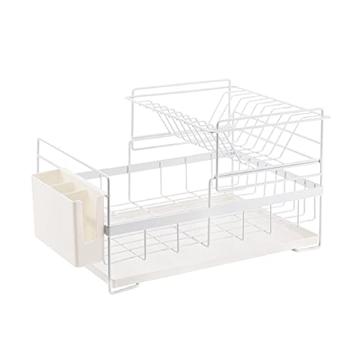 KUYUC Dish Rack Drainer Stainless Steel, Dish Drying Rack with Utensil Holder & Tray for Kitchen Organizer Storage Space Saver (Size : White)