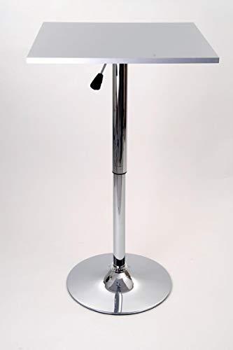 Bistro-Tisch, silber, quadratische Holzplatte, höhenverstellbar 84-104 cm -