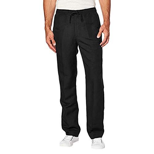 Pantaloni da Abito Uomo, Slim Fit, Pantaloni da Smoking Elastici ed Eleganti alla Moda con Coulisse (XXL,Nero)