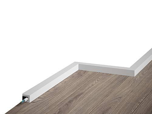 MARDOM DECOR Sockelleiste I QL021 I Fußbodenleiste mit Kabelkanal Abdeckleiste I 200 cm x 2,0 cm x 2,5 cm