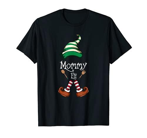 Mamá Elf Familia a juego de pijama de Navidad regalo mamá Camiseta