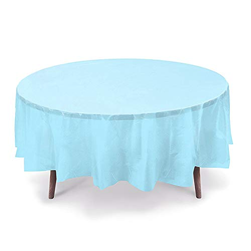 12 CT Premium 84 inch Round Plastic Tablecloth Waterproof Disposable Party Event Decoration Heavy Duty Table Cover(Light Blue)