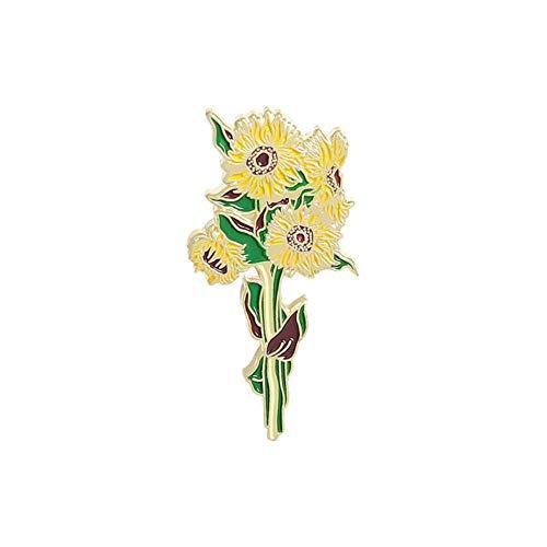 Broche de girasol esmaltado con flor para abrigo, alfileres de solapa, broches de metal para hombres en la ropa, insignias para mochila, regalo de Año Nuevo-1