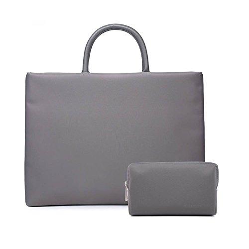 La bolsa de asas gris para laptop con bolsitas pequeñas para hombres y mujeres encajan con laptops de 15.6 pulgadas