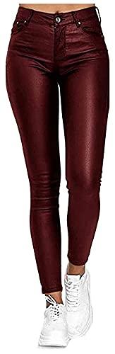 SKYWPOJU Pantalones de Cuero para Mujer Legging Flaco Sexy Estiramiento de Cuero de PU Aspecto de Cuero sintético Pantalones de Motorista con Revestimiento Delgado clásico (Color : Red, Size : XL)
