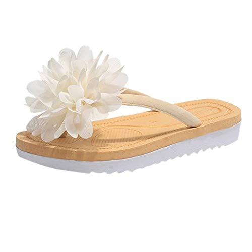 VECDY Zapatillas Mujer Zapatos Con Cordones Para Mujeres, Primavera Flores Grandes, Fondo Plano, Zapatos De Playa, Sandalias Y Chanclas Suave Zapatos De Playa Verano Popular 2019 Casuales(Beige,EU=39)