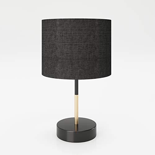 PLAYBOY DESIGNER Tischlampe mit schwarzem Lampenschirm aus Stoff, geeignet als Tisch- oder Dekolampe, Nachttischlampe, Schreibtischlampe, Retro-Design, schwarz mit Holz-Element