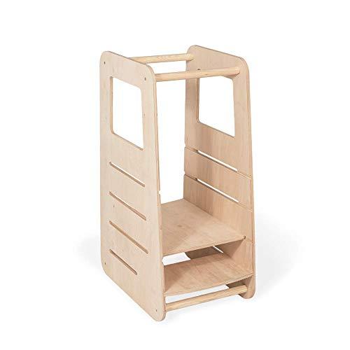 Universell Lernturm Kinder | Küchenturm Kinder modernes Design Hochstand Kinder | Nachhaltig Kinder Lernturm mit Höheneinstellung (3 Höhen) | 100% ECO | Made in EU