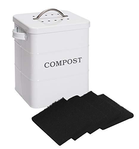 Xbopetda Composteur en acier inoxydable pour plan de travail de cuisine, 3,8 l, comprend un filtre à charbon, composteur pour zéro déchets, poubelle à compost de cuisine, seau à compost – Blanc