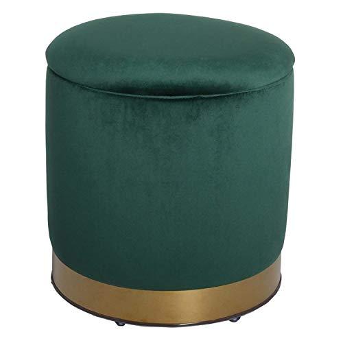 Casa Moro XXL Samt-Hocker Hamit Grün rund Ø 40cm x Höhe 43cm mit Stauraum & Deckel | Hochwertiger Sitz-Hocker stabil Designer Sitz-Pouf | CH1516
