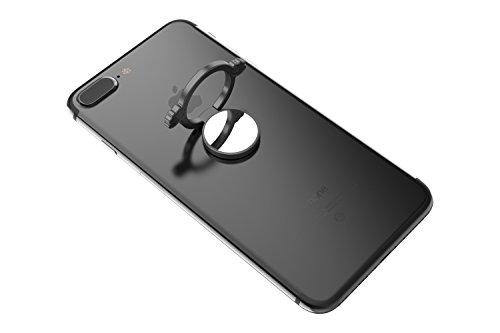 Kronya | Portaobjetos giratorio 360 ° para smartphone | Sostenedor aptitud dedo coche celular anillo soporte teléfono móvil Apple iPhone iPad 7 8 10 X Samsung Galaxy S8 6 (Negro)