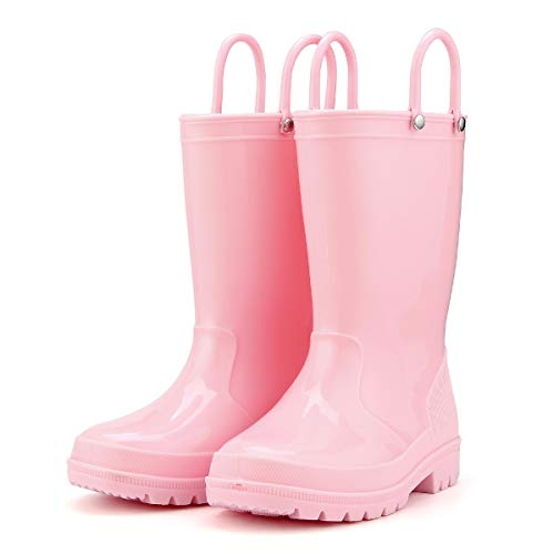 KomForme K Kids Rain Boots, Toddler Rain Boots Environmental Material Boots with Memory Foam Insole and Easy-on Handles,Light Pink,2M