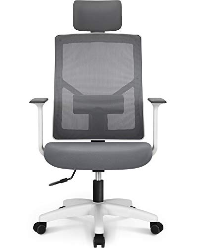 NEO Chair Office Chair Computer Headrest Desk Chair- Head Rest Business Ergonomic Mid Back Cushion Lumbar Support Wheels Comfortable Mesh Racing Seat Adjustable Swivel Rolling Executive Chair, Grey-H