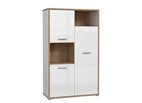 Furniture24 Hochschrank Chicory CHRR711, Schrank, Kommode, Highboard mit 3 Türen, Hochglanz Weiß - Riviera Eiche (mit 2 pkt. Beleuchtung)