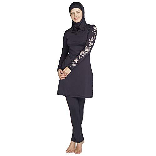 Ziyimaoyi Dezente muslimische Bademode für Frauen und Mädchen, Schwimmanzug (Hijab/Burkini), damen, Schwarz , M