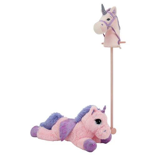 Sweety Toys 11001 Set Steckenpferd Einhorn & Einhorn Plüschtier 65 cm Rosa