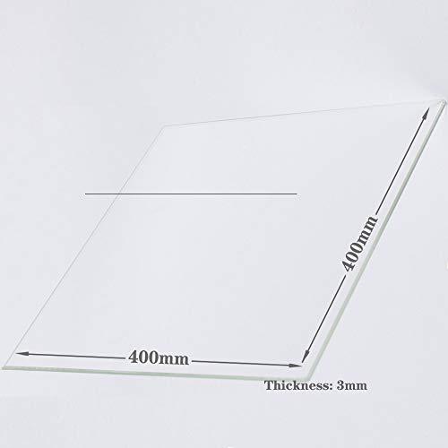 Piastra di costruzione in vetro borosilicato 400 mm x 400 mm x 3 mm per stampanti 3D, vetro perfettamente piatto con bordi lucidi.