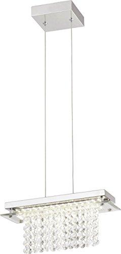 Pendente Metal/cristal Vidro Led 12w 4000k Cromado 12x30x11, 5cm Quality 110v Cromado