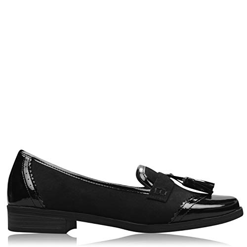 MISO Tasha Damen Mokassins Slipper Flache Schuhe Formell Halbschuhe Loafer Schwarz Lack 7 (41)