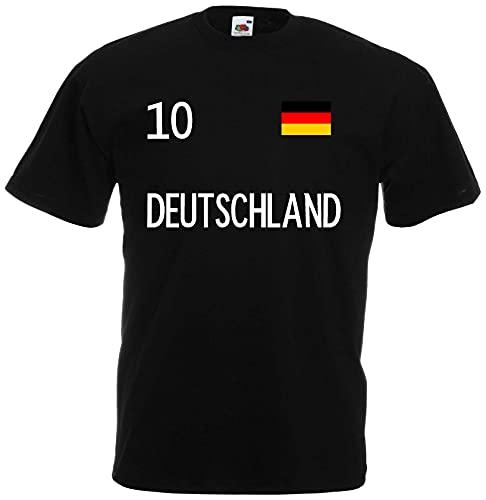 Deutschland Herren T-Shirt EM 2020 Trikot Look Style Nr.10 Schwarz XXXL