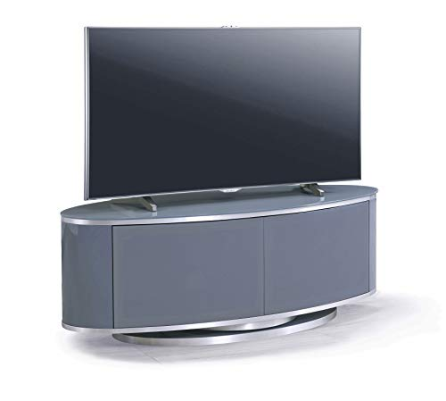 MDA Designs LUNA Grey Oval Cabinet with Grey Profiles & Grey BeamThru Glass Doors Suitable for Flat...
