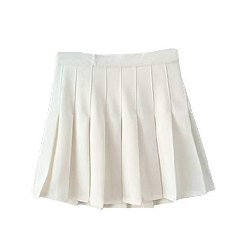 Huaheng Sommer Damen Mini Faltenrock Hohe Taille Schulmädchen Skater Tennis Shorts Röcke - Weiß, S