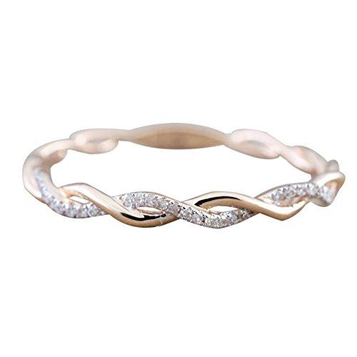 momangel glänzend Strass gedrehter Ringe Silber plattiert Verlobungsring Finger Ring Schmuck US 9 rose gold