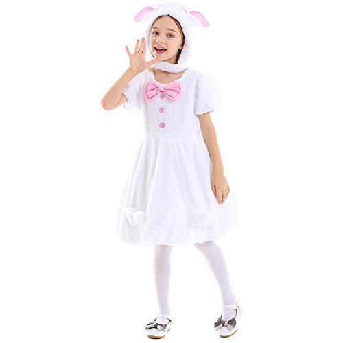 NIMIFOOL Kostüme für Kinder Watte Material Mädchen Hängeohr Kaninchen Anzug Kleid Eltern-Kind Familie geeignet für Halloween Schulparty Cosplay,White,M