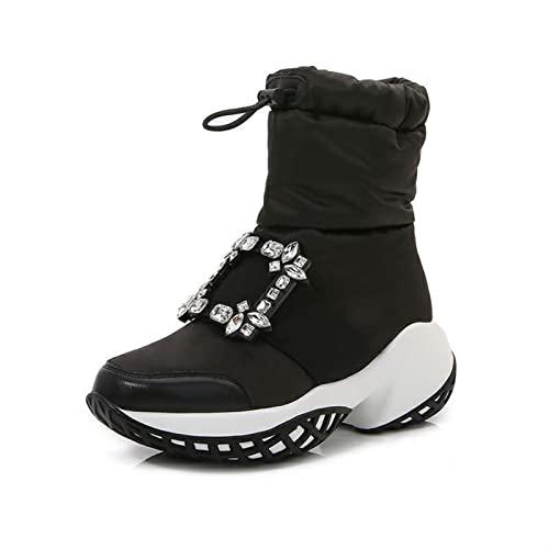 Damskie buty śniegu buty moda diament klamra zachować ciepły wzrost bawełniane buty żeńskie bawełniane buty (Color : A, Size : 35 EU)