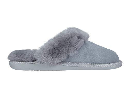 Vanuba Cashmere - Pantofole da Donna Artigianali, in Pelle Naturale, Lana di Pecora al 100%, Scarpe da Casa Calde e Confortevoli (37 EU, Grigio (Grey))
