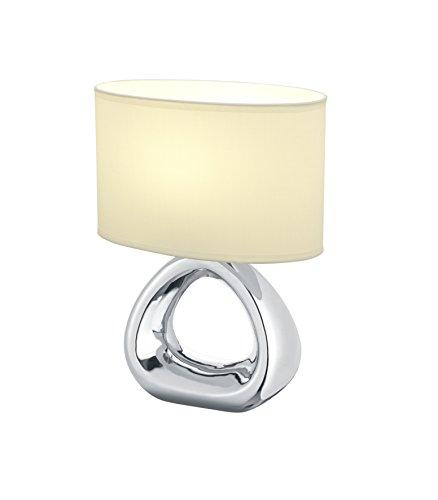 Reality Leuchten Tischleuchte, Keramik^Stoff, E27, silber/weiß, 15 x 24 x 34.5 cm
