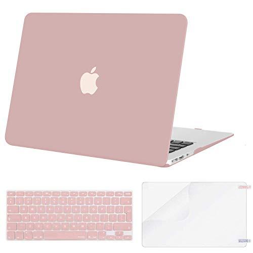 MOSISO Funda Dura Compatible con MacBook Air 13 (A1369/A1466, Versión 2010-2017), Rígida Carcasa Protector & Piel de Teclado de Color a Juego EU Versión & Protector de Pantalla, Cuarzo Rosa