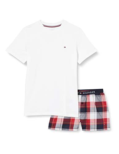 Tommy Hilfiger Jungen Ss Short Set Woven Print Zweiteiliger Schlafanzug, Weiß (Pvhwhite/Navyblazer), 8-9 Jahre (Herstellergröße:)