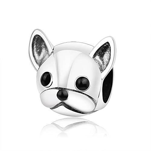 LIIHVYI Pandora Charms para Mujeres Cuentas Plata De Ley 925 Socios Bulldog Francés Animal Cabeza...