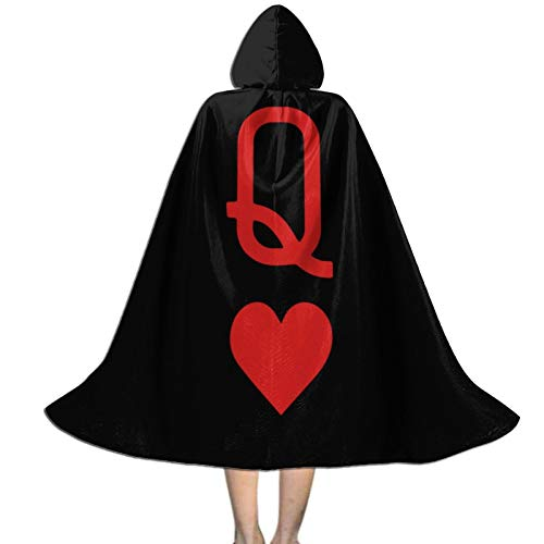 Queen of Hearts Playing Card Logo Children's Halloween Cloak Stage Party Cosplay Festival Dress up Black