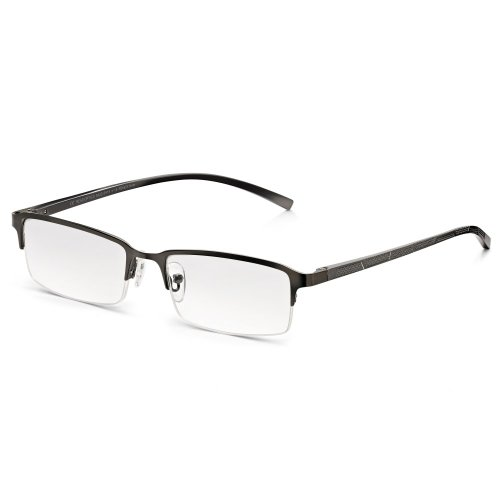 Read Optics Herren Lesebrille: Graue Halbrandbrille mit Sehstärke +2,5 Dioptrien. Entspiegelte und kratzfeste Premium Difuzer™ Gläser mit UV Schutz und rechteckigem Halbrahmen in modernem Chrom